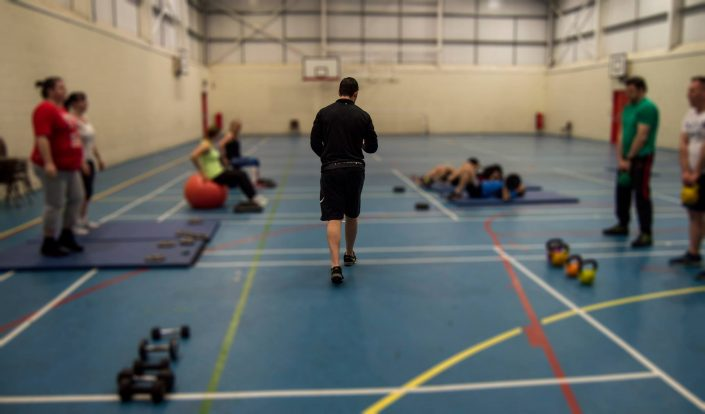 Circuits class unfocused around a focused Darren Wilce, owner and personal trainer of TPTS Fitness Club