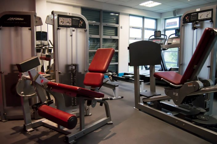 Resistance gym equipment located inside the gymnasium