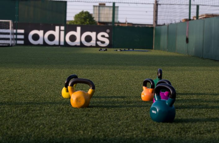 These are the new brightly coloured Kettle Bells at a TPTS Fitness club circuits class.