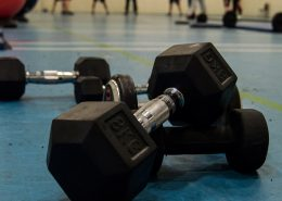 Set up dumbbells used within the fitness classes Swansea at TPTS