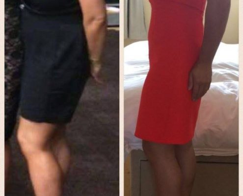 Side by side images of a before and after of a personal training Swansea client
