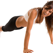 A fitness lady in her training kit holding the plank position