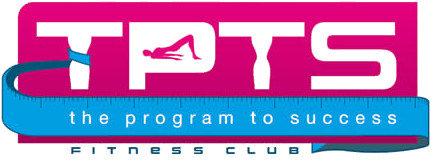 TPTS Fitness club logo. This is pink and blue in colour.